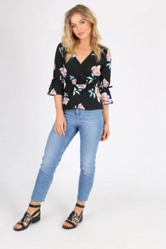 INFLUENCE BLACK FLORAL TIE SLEEVE WRAP SHIRT TOP SIZES 8, 10, 12, 14